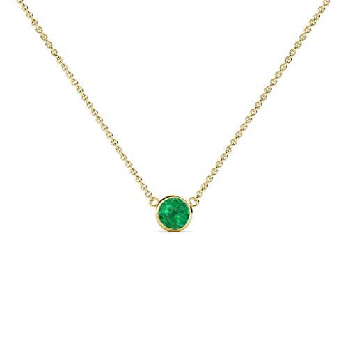 TriJewels Round Emerald 0.08 ct Bezel Set 3mm Womens Solitaire Pendant Necklace 14K Yellow Gold with 16 Inches Gold Chain