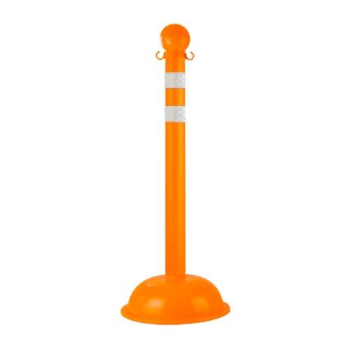 Mr. Chain 99978 Polyethylene Traffic Control Stanchion with Dot Strips, 3'' Diameter x 41'' Height, Orange