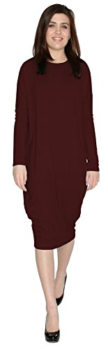 Baby'O Women's Long Sleeve Comfy Cover-Up Midi Dress, Burgundy, xs