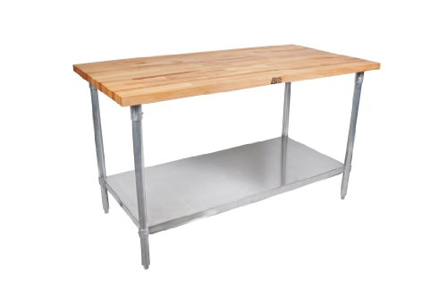 John Boos JNS09 Maple Wood Top Stallion Work Table, Galvanized Legs, Adjustable Lower Shelf, 1-1/2