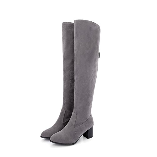 Women's Boots Toe Closed High Top Pointed Solid Heels AgooLar Frosted Gray Kitten SqpUpB