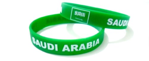 Multicolor Country Flag Unisex Silicone Bracelet Rubber Sport Fashion Wristband Cuff Size 8 Inches 20.2 Cm (Saudi - Shop Saudi Ship And