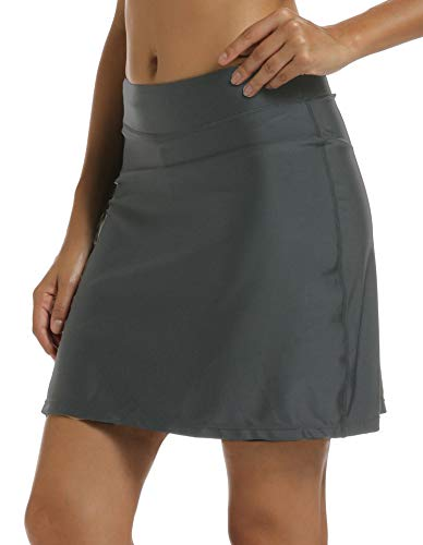 - Aunua Women UPF 50+ Active Skirted Shorts Swimming Skorts Capris with Skirt Sun Protection(9003 Grey M)