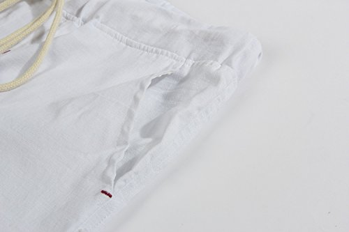 Janmid Men's Linen Casual Classic Fit Short White M by Janmid (Image #3)