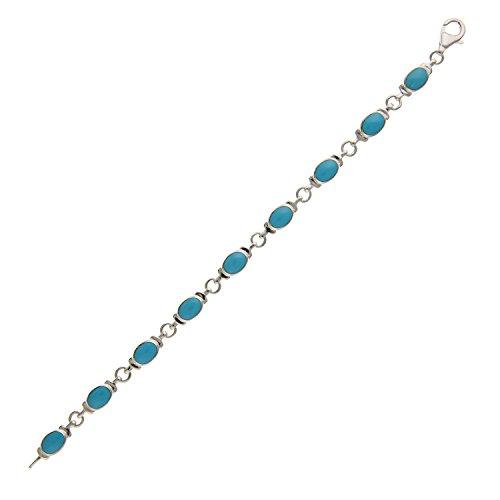 6mm de large synthétique Bleu turquoise ovale liens Bracelet-17,8cm pouces-Argent Sterling 925-Livré dans une boîte cadeau gratuit/sac cadeau