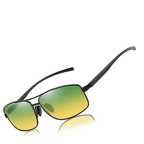 Mens Womens Classic Retro Polarized Sunglasses Metal Frame Day&Night 100% UV400 Protection Rectangular Driving Sun Glasses for ()
