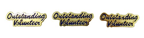 Volunteer Lapel Pin - Gold Toned with Enamel Outstanding Volunteer Recognition Lapel Pin, Pack of 3
