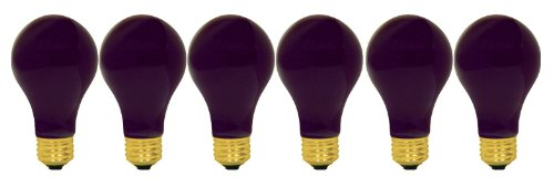 GE Lighting 25905 60-watt A19 Light Bulb with Medium Base, Black, 6-Pack ()