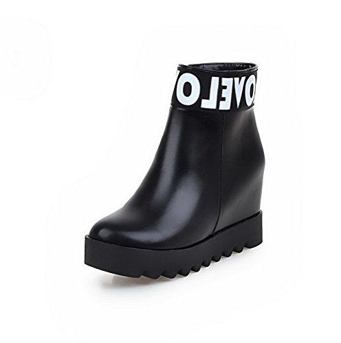 AmoonyFashion Womens PU Low-Top Assorted Color Zipper High-Heels Boots Black yip85I2WJy