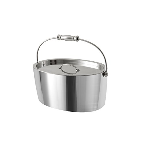 Crafthouse by Fortessa Professional Metal Barware/Bar Tools by Charles Joly, 12″ x 5.25″ Stainless Steel Ice Bucket with Handle and Drain Tray