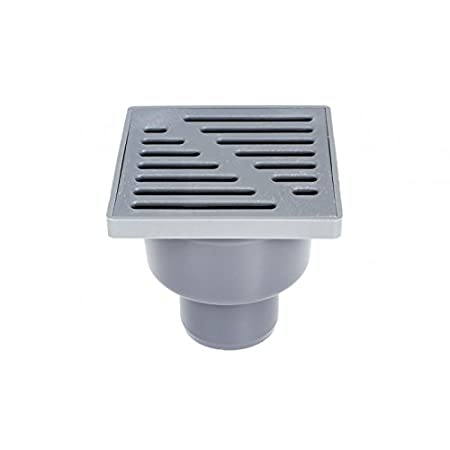 Adjustable Sewage Drain 150mm x 150mm 110mm Straight Pipe Connection Floor Waste Drain Square Trap Shower Wet Room