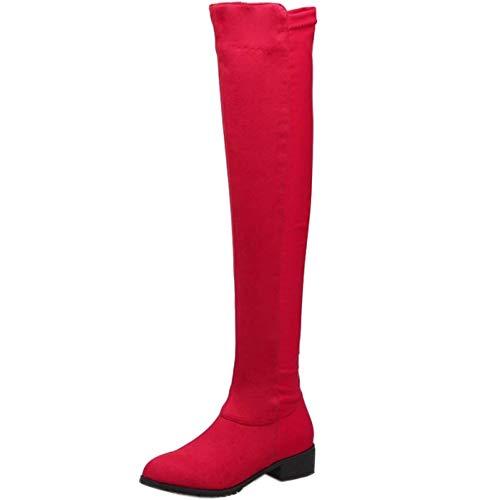 Donne Stivali Moda Rosso Ginocchio Lydee Tacchi Bassi 1dqwxnTC