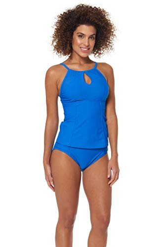 Skechers Women's Core Solids Swim Separates (Tops & Bottoms), Amparo Blue high Neck Tank in I Top, S
