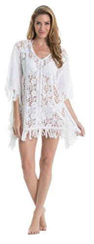 Elan Crochet Front White Tunic with Fringe One Size