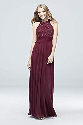 David's Bridal High-Neck Sequin Lace and Chiffon Bridesmaid Dress Style W60081
