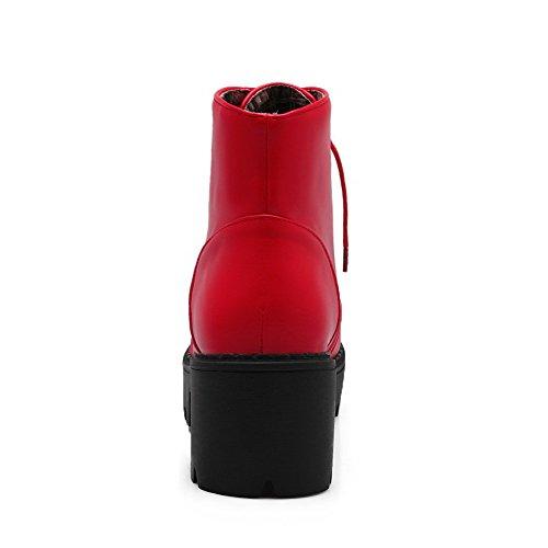 AmoonyFashion Womens Soft Material Round Closed Toe Solid Low Top Kitten-Heels Boots Red JjBC2li
