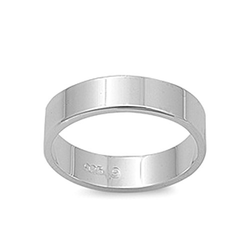 (Cigar Wedding 5mm Flat Plain Ring New .925 Sterling Silver Band Size 7)