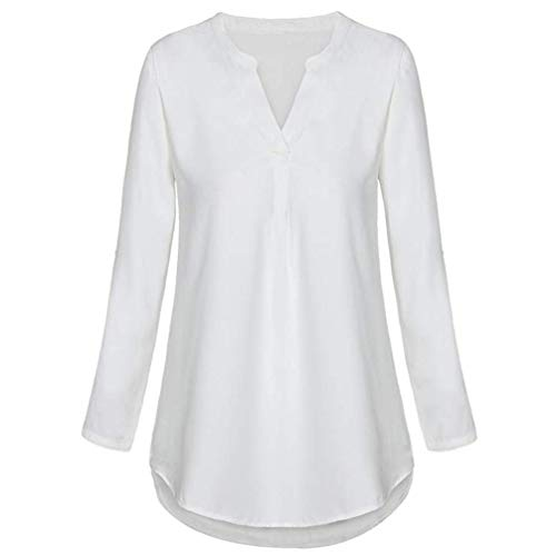 (Henleys,Toimoth Womens Daily Chiffon Long Sleeve Loose Solid V Neck Cuffed Shirt Blouse Tops(White,XL))