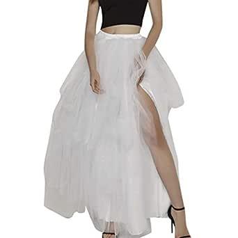TIFIY Moda Falda Larga Tul Tubo Gasa Color Sólido Dividido Mujer ...