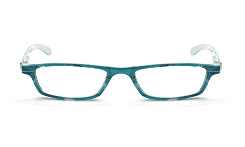EYE-ZOOM Art Design Readers Spring Hinge Reading Glasses for Men and Women Choose Your Magnification, Turquoise, 1.25 Strength