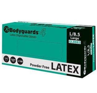 White Bodyguards GL888 Powder Free Disposable Latex Gloves Medium Box of 100