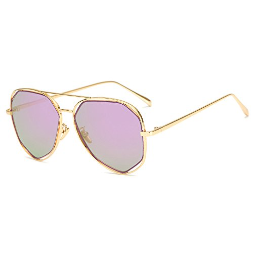 Metal Frame Mirrored Lens Sunglasses Kaimao Fashion Unisex Goggle Sun Glasses with Case and Cloth - Gold and - Sunglasses Brand P