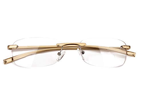 (Loovit Rimless Rectangle Bifocal Reading Glasses Mens Womens Spring Hinge Frameless Readers Reading Glasses (Gold, 350) )