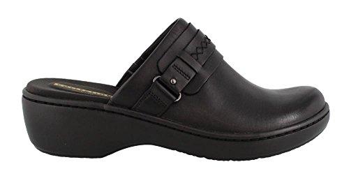 CLARKS Women's Delana Amber Mule, Black Leather, 8 M US