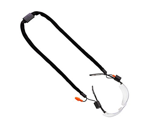Glass Clasps (Safety Eyeglasses Earplug Combo Neck Cord String Retainer Strap and Sport Leisure Sunglasses Holder (Black))