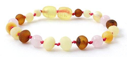 (Unpolished Baltic Amber Teething Bracelet/Anklet Made with Rose Quartz Beads - Size 5.5 inches (14 cm) - Raw Multicolor Amber Beads - BoutiqueAmber (Raw Mix/Rose Quartz, 5.5 inches))