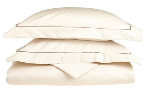 Superior 800 Thread Count, 100% Egyptian Cotton, Single Ply Duvet Cover Set, Full/Queen, Ivory with Taupe Embroidery ()