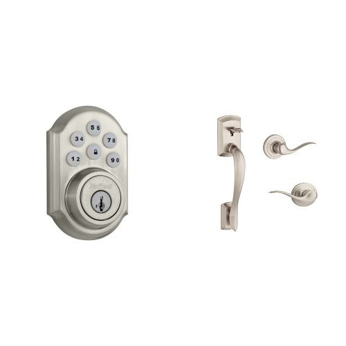 Kwikset 910 Z-Wave SmartCode Electronic Touchpad Deadbolt featuring SmartKey Security and Avalon Handleset with Tustin Right Handed and Left Handed Lever Works with Amazon Alexa via SmartThings, Wink, or Iris in Satin NIckel