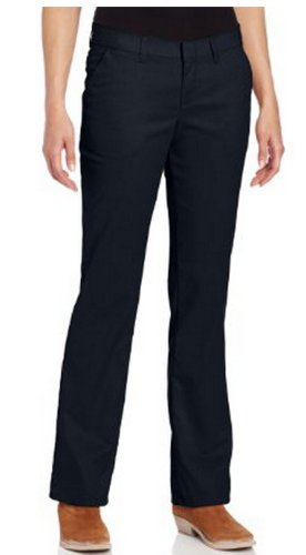 (Dickies Women's Wrinkle Resistant Flat Front Twill Pant With Stain Release Finish,Dark Navy,14)