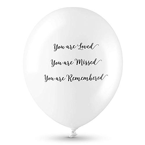 ANGEL & DOVE 25 Premium White 'You are Loved, Missed, Remembered' Biodegradable Funeral Remembrance Balloons - for Memory Table, Memorial, Condolence, Anniversary -