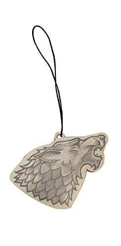 (Single Wolf Head Game Crest TV Show Parody Engraved Printed Wooden Rear View Mirror Car Charm Dangler)