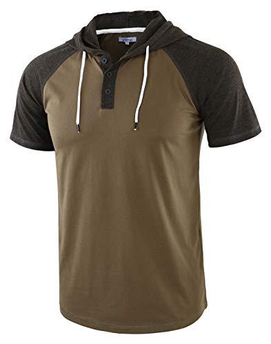 Vetemin Men's Casual Short Raglan Sleeve Henley Jersey Hoodie Baseball T Shirt Army/H.Charcoal - Baseball Army Jersey