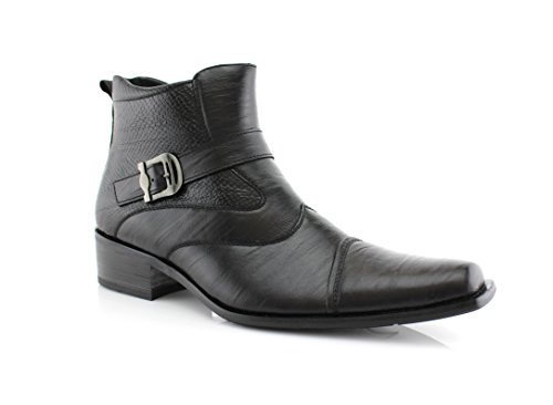 Delli Aldo Men's Black Buckle Strap Ankle High Dress Boots Shoes 10.5