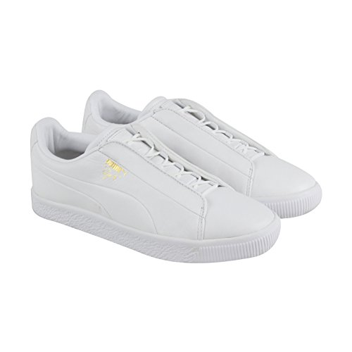 Puma Clyde Mode Mens Noir Synthétique Lace Up Sneakers Chaussures Puma Blanc / Puma Blanc