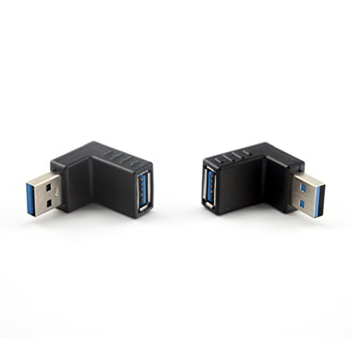 JEVIT USB 3.0 up Down Male to Female Extension Adapter Combo Upward and Downward 90 Degree Right Angle USB 3.0 Super-Speed Connector Adapte Coupler