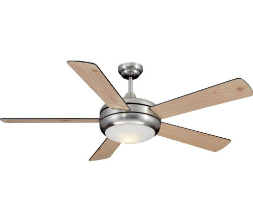 Litex TIT52SCH5LKRC Titan 52-Inch Five-Blade Ceiling Fan with Remote Control, Satin Chrome with Opal Glass Light