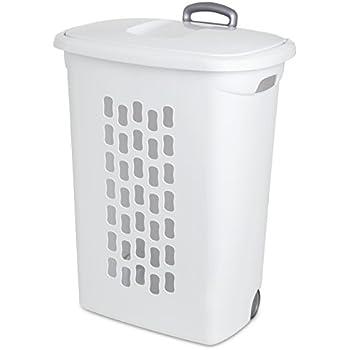 Amazon Com Sterilite 12228003 Ultra Wheeled Hamper White