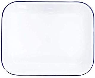 Enamelware Open Roaster, 13 x 10 inches, Vintage White Blue