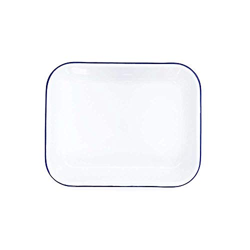(Enamelware Open Roaster, 13 x 10 inches, Vintage White/Blue )