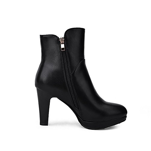 Heel Wheeled Black Solid Style Boots Leather AdeeSu Shoes Imitated Ladies European HnXqIwxTAg
