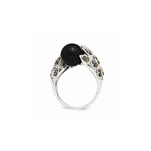 ICE CARATS 925 Sterling Silver Marcasite Black White Freshwater Cultured Pearl Band Ring Size 8.00 Fine Jewelry Ideal Gifts For Women Gift Set From Heart by ICE CARATS (Image #5)