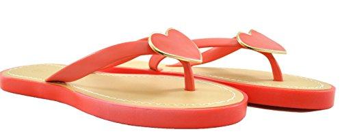 Damen Flache Slip auf Sandalen offene Zehen Post Jelly Flip Flops Hausschuhe Herz Rüsche mit Blütenblatt Coral Heart