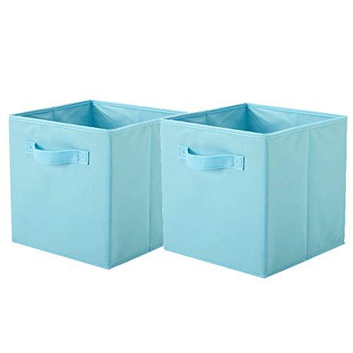 ShellKingdom Storage Bins, Foldable Fabric Storage Cubes and Cloth Storage Organizer Drawer for Closet and Toys Storage,2 Pack(Light Blue)