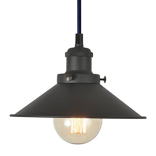 Industrial Pendant Light Fixture, XIDING Vintage Edison Hanging Light, Retro Premium Matte Black Finish Metal Shade, E26 Base, Adjustable Wire, 1-Light