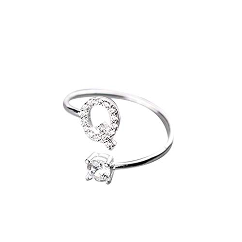 (Beppter Adjustable Initial Letter Ring-Open Ring A-Z White Crystal Finger Ring Wedding Gift for Her(Silver,Q))
