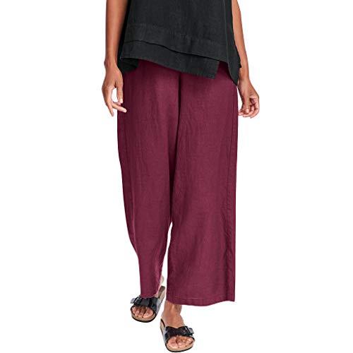 Fashion Women Solid Cotton and Linen Vintage Casual Trouser Ankle-Length Pants Purple